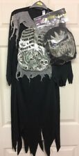 George Creepy Costume Dress Up Age 7-8 Black All In One Suit With Head Mask New