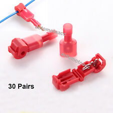 30 Pair T-Taps/Male Insulated 22-18 Ga Wire Connectors Combo Car Audio Terminals