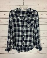 Le Lis Stitch Fix Women's M Medium Navy White Plaid Button Long Top Blouse Shirt
