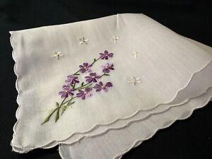 9139🌟Vintage 40s Swiss CUTTER VIOLETS Wedding Handkerchief Heirloom