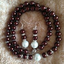 """8-12mm Chocolate Shell Pearl Necklace +Earring  18"""" AAA k20"""