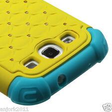 Samsung Galaxy S3 i9300 Hybrid Spot Diamond Hard Case Skin Cover Yellow Blue