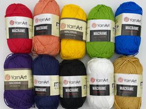 YarnArt Macrame Polyester Cord Crochet Jewellery Micro Macrame 10x90g Multi Pack
