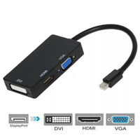 CW_ Portable 3 in 1 Thunderbolts Mini Display Port to HDMI VGA DVI Adapter Cable