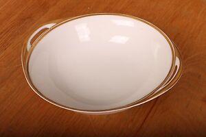 "Vintage Limoge White Serving Bowl Gold Trim Milk Glass 7 1/4"""