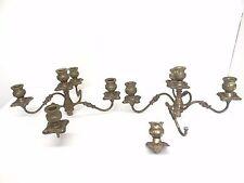 Vintage Pair Old Metal 5 Slotted Decorative Candelabra Tops Candle Holder Parts