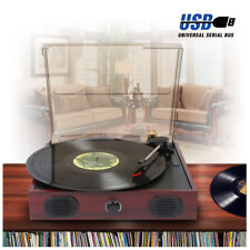 Vintage Vinyl LP Record Player USB Turntable Built-In Speakers Anti Dust Cover
