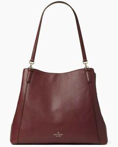 Kate Spade Jackson Cherrywood Leather Large Shoulder Tote WKRU6246 Burgundy FS