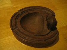 "Robert "" Mouseman "" Thompson  of Kilburn oak horseshoe ashtray with carved mouse"