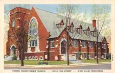 West Allis Wisconsin outside United Presbyterian Church linen antique pc Z43933