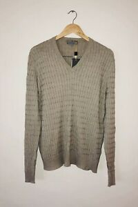 Canali Mens VNeck Sweater Beige BNWT Size 54=L. Cotton Silk Blend RRP $849 Italy