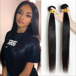 2 Bundles/100G Natural color Straight human hair 18inch Weave Weft Extensions