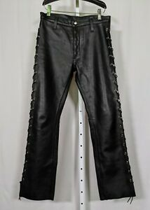 "Leatherman NYC Heavy Duty Lace-up Black Leather Pants 33"" Waist"