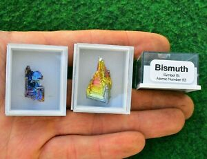 1 Rainbow Bismuth Crystal Boxed+ID Titanium Specimen Mineral Chakra Gift UK BUY✔