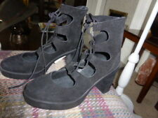 TOPSHOP HALFPENNY LEATHER SUEDE GHILLIE LACE BOOTS SIZE 7