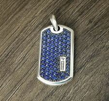 Solid 925 Sterling Silver Men Tag Pendant with 0.85 Ct Blue Round Cut Sapphire