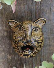 Mask Jaguar Leopard Handmade Black & Gold Clay Chiapas Mexico Folk Art Tribal