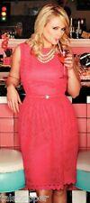 TRINA TURK B52 Pink Swizzle Lace Fit Flare Belt Dress NWT $398 14 Celebrity FAV!