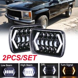 Pair 5x7'' 7x6'' LED Headlight Hi-Lo Beam Halo DRL For Jeep Cherokee XJ YJ GMC