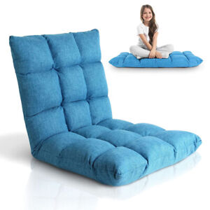 Floor Chair Adjustable Lazy Floor Sofa Chair Folding Gaming Lounger Padding Seat