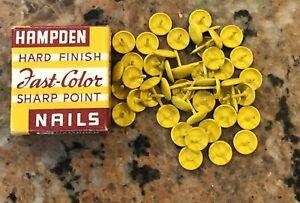 1960's NOS Hampden Hard Finish Nails Furniture Nails R716 Yellow