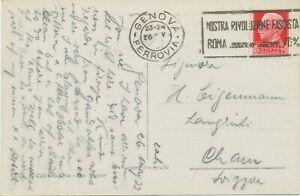 ITALIEN 1933 König Viktor Emanuel III 75 C auf Kab.-AK RP GENOVA Nuova Stazione