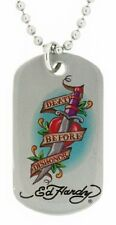 Ed Hardy Death Before Dishonor Color Print Dog Tag in Stainless Steel