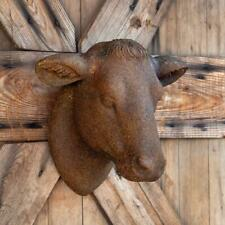 Cow Yearling Head Wall Mount Stone Sculpture