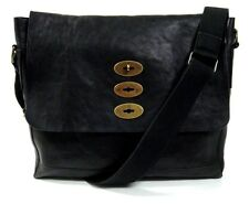 Mulberry Authentic Vintage Brynmore Natural Black Leather Unisex Messenger Bag