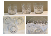 VINTAGE Drinking Glass Rock Tumblers Criss-Cross Starburst 8 oz. Clear Set of 3