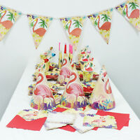 Flamingo Party Tableware Set for Birthday Party Tablecloth Napkins Paper Banner