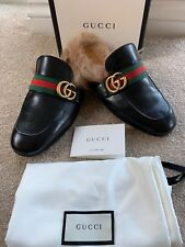 3667abe34a22 Gucci Princetown Web Leather Slipper Shoes Uk 7 Eu 41 GG Design Wool Lining  New
