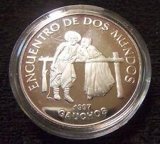 URUGUAY $ 250 PESOS 1997 SILVER UNC COIN Gauchos - Encuentro de dos Mundos