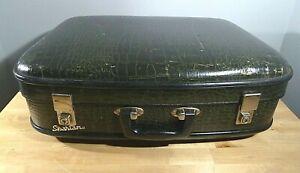 Vintage Green Spartan Suitcase 1960s Faux Crocodile Skin