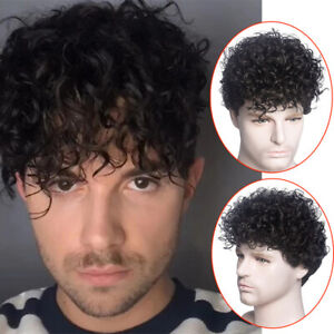 6inch Men Short Black kinky Synthetic Hair Wig For Men Puffy Toupee Wigs