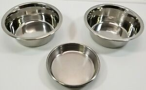 MM) Lot of 3 Stainless Steel Dog Pet Food Treat Water Bowls Dish Feeders