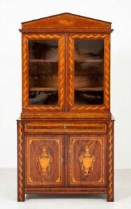 Antique Dutch Mahogany Bookcase - Glazed Cabinet Marquetry Inlay 1860