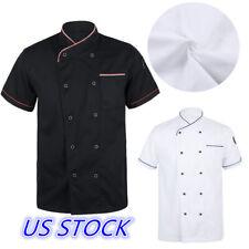 Us Short Sleeve Chef Coat Jacket Restaurant Hotel Kitchen Cooker Costume Uniform