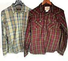 Lot of 2 - Wrangler Retro Boys 2XL Plaid Western Pearl Snap Flannel Shirt  18-20