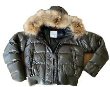 Moncler Womens Down Jacket w Fur Hoodie Olive Army Green Women Size 3