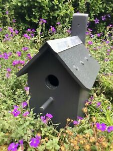 BIRD HOUSE NEST BOX - HANDMADE / BESPOKE - CHARCOAL GREY - WOODEN - VERY STURDY