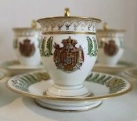 RARE FRENCH SEVRES IMPERIAL NAPOLEON KING Of ITALY SET 6 CUPS & 6 SAUCERS 19TH C