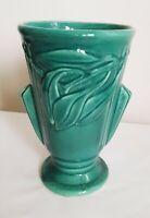 """Vtg Art Nuoveau Pottery Vase Shawnee McCoy Olive Leaf USA 8"""""""