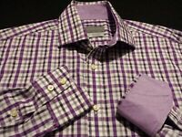 Thomas Dean Mens Medium L/S Button-Front Multicolor Plaid Check Flip Cuff Shirt