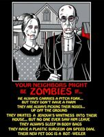 HUMOROUS FUNNY YOUR NEIGHBORS MIGHT BE ZOMBIES IF VOODOO ZOMBIE SKULL T-SHIRT Z2