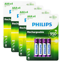 16 x Philips Rechargeable AAA 950 mAh batteries NiMh 1.2V HR03 Micro Pack of 4