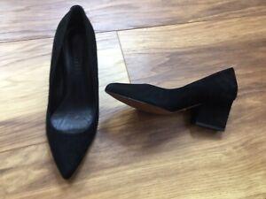 Whistles Avryl Black Suede Block Mid Block Heel Court Shoes UK 4 EU 37 New