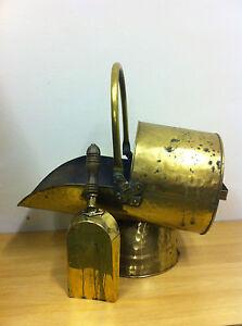Antique Edwardian Brass Coal Wood Bucket Scuttle With Shovel Fireplace (TA094)
