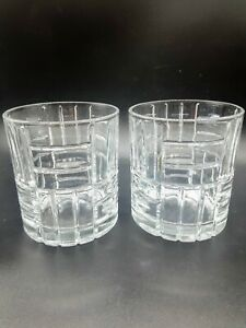 2 Whisky Lowball Barware Glasses with Brick Pattern