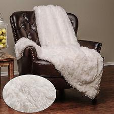 White Throw Blanket Soft Long Shaggy Chic Fuzzy Fur Faux Warm Elegant Cozy Bed